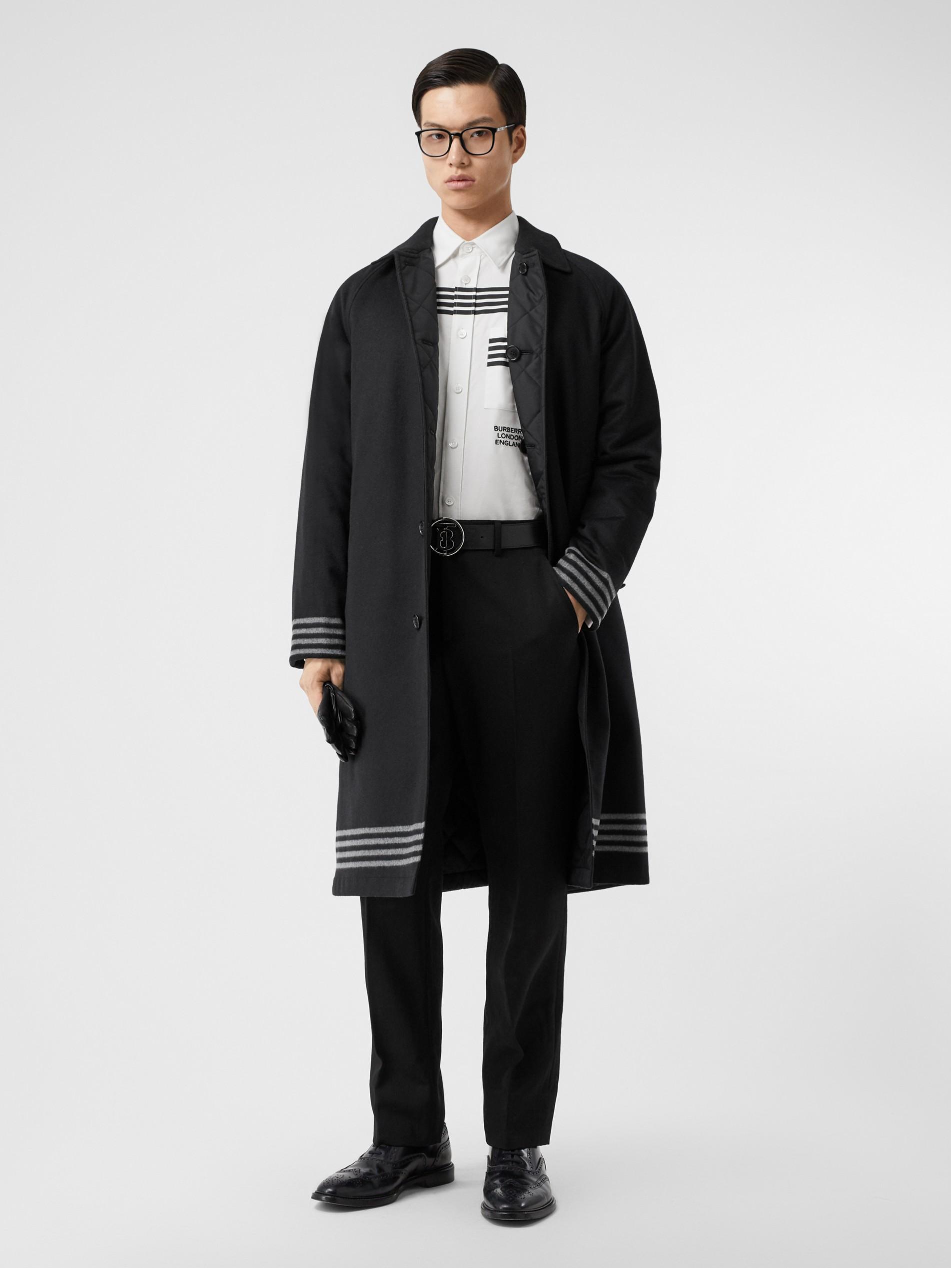 针织提花面料图片_双面两穿绗缝 ECONYL® 轻便大衣 (黑色 / 白色) - 男士 | Burberry 博柏利