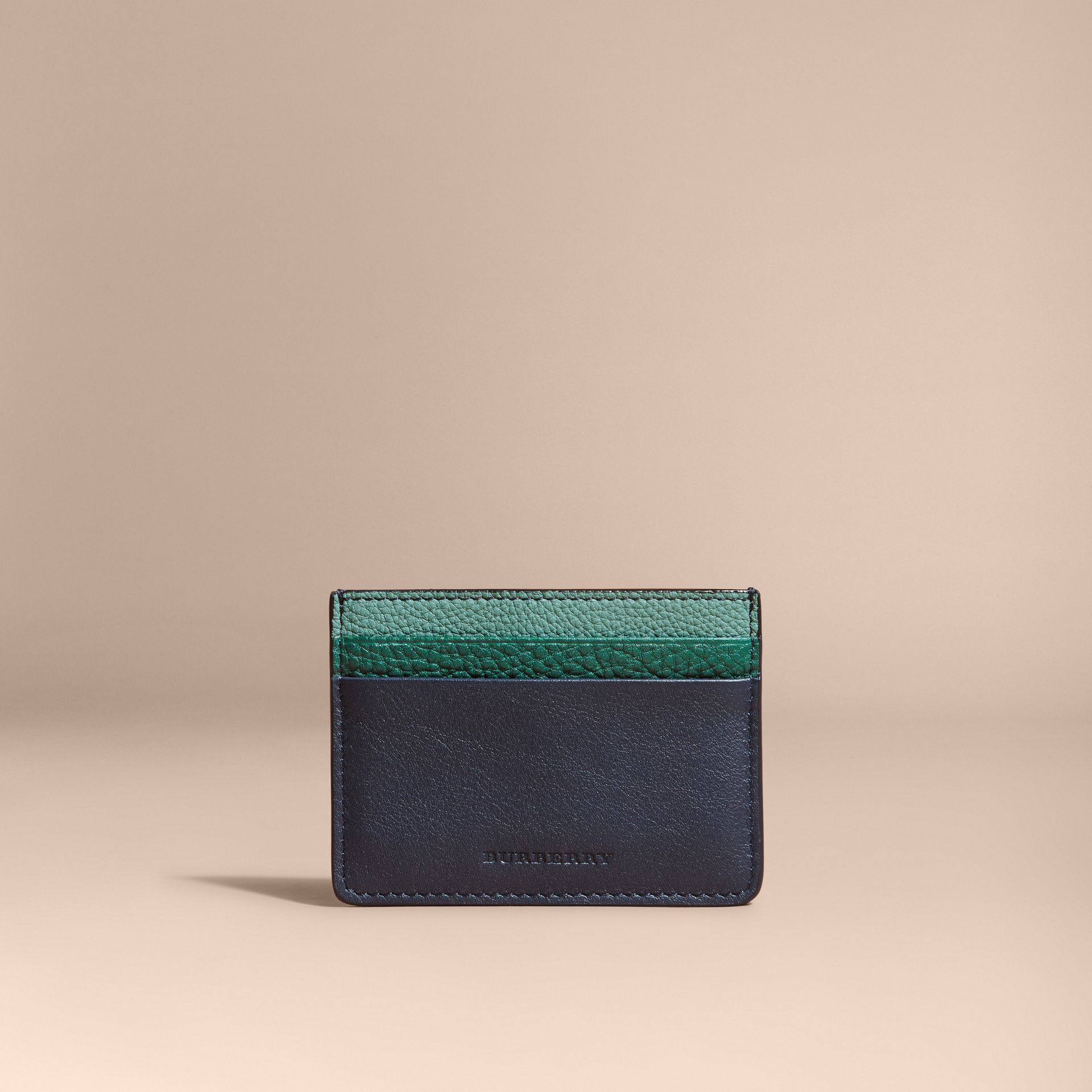 Colour Block Leather Card Case in Blue Carbon - gallery image 6