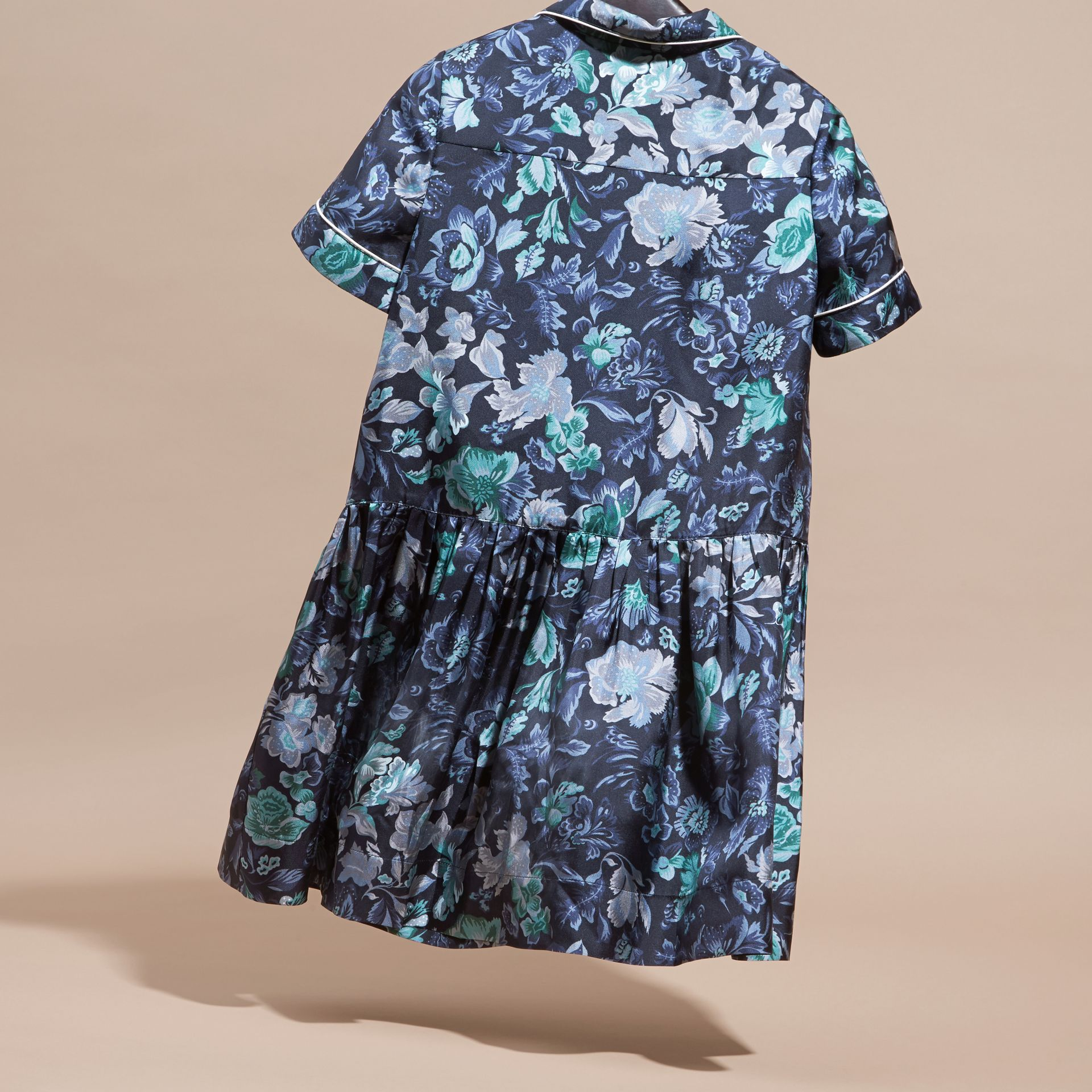 Garden Floral Print Silk Shirt Dress - gallery image 4