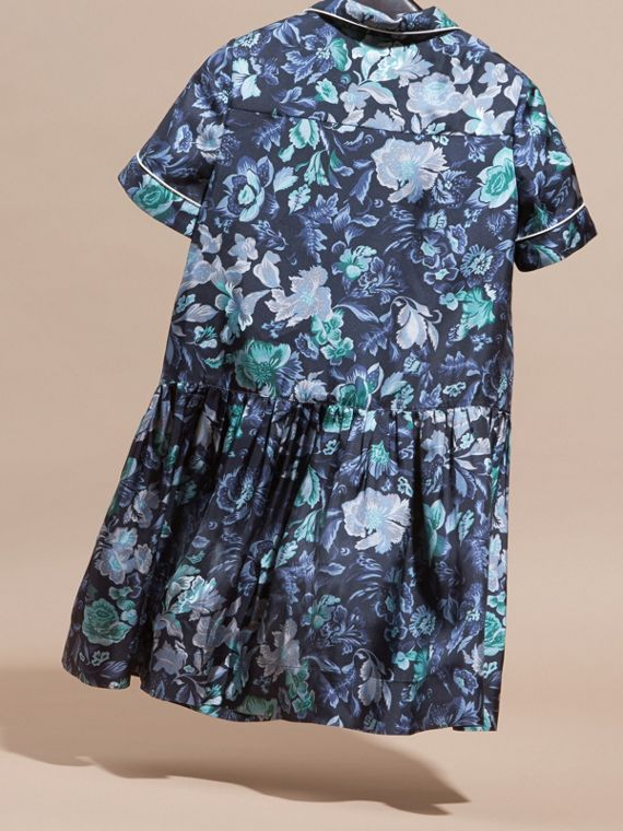Garden Floral Print Silk Shirt Dress - cell image 3
