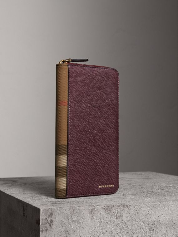 House Check and Grainy Leather Ziparound Wallet in Wine