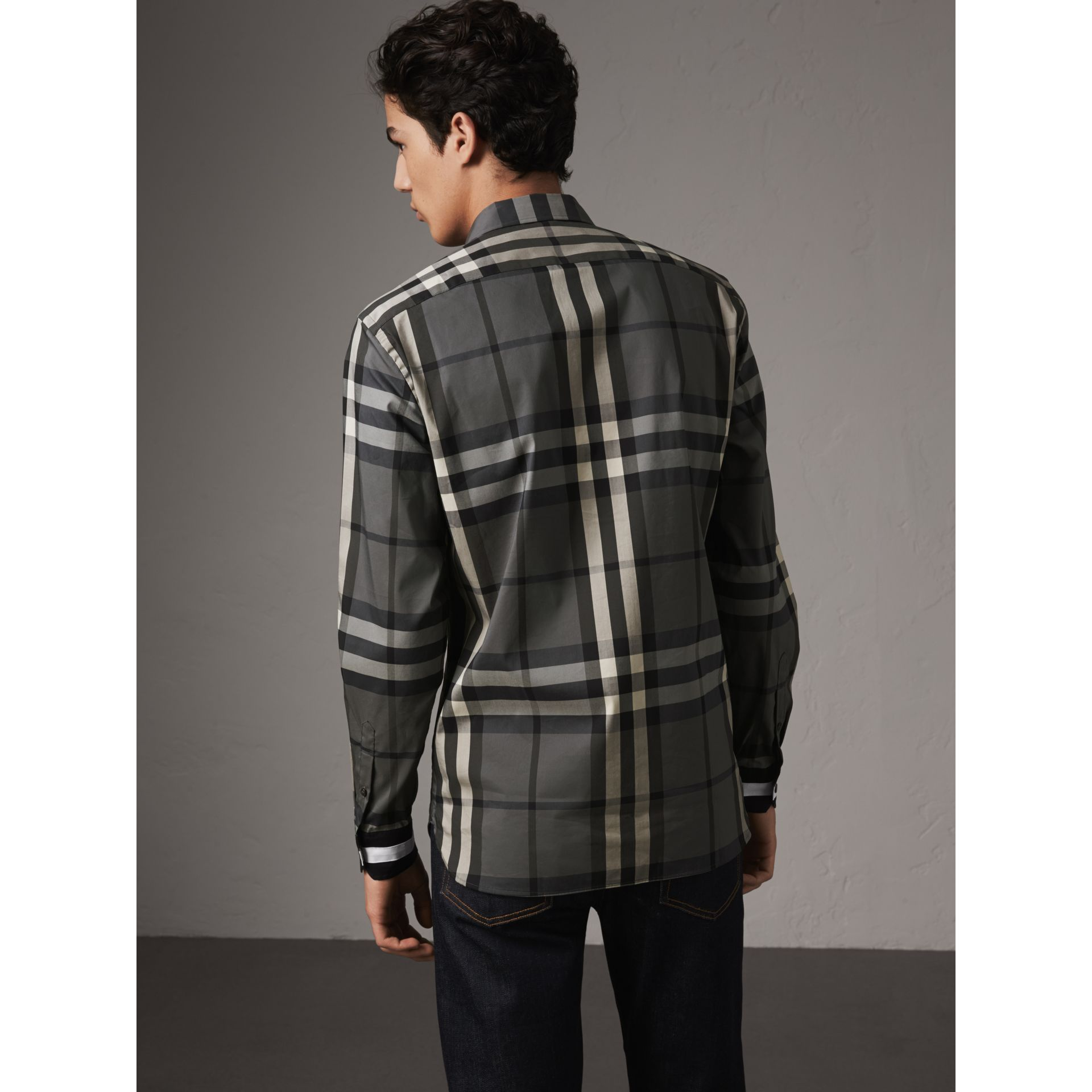 Striped Cuff Check Cotton Blend Shirt in Charcoal - Men | Burberry - gallery image 2