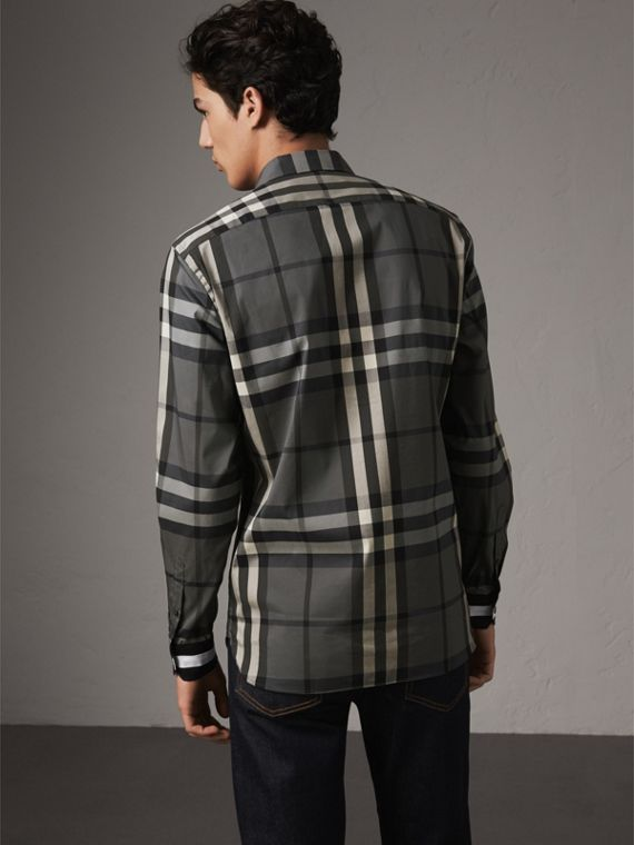 Striped Cuff Check Cotton Blend Shirt in Charcoal - Men | Burberry Singapore - cell image 2