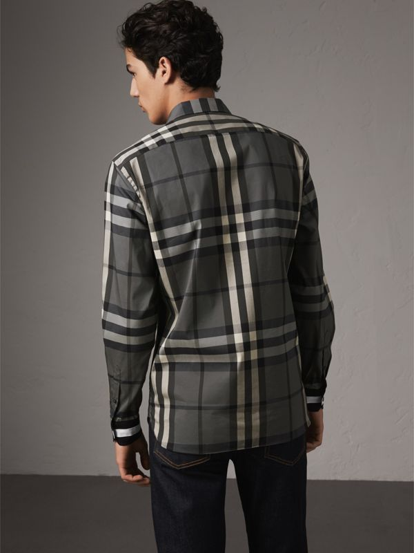 Striped Cuff Check Cotton Blend Shirt in Charcoal - Men | Burberry - cell image 2