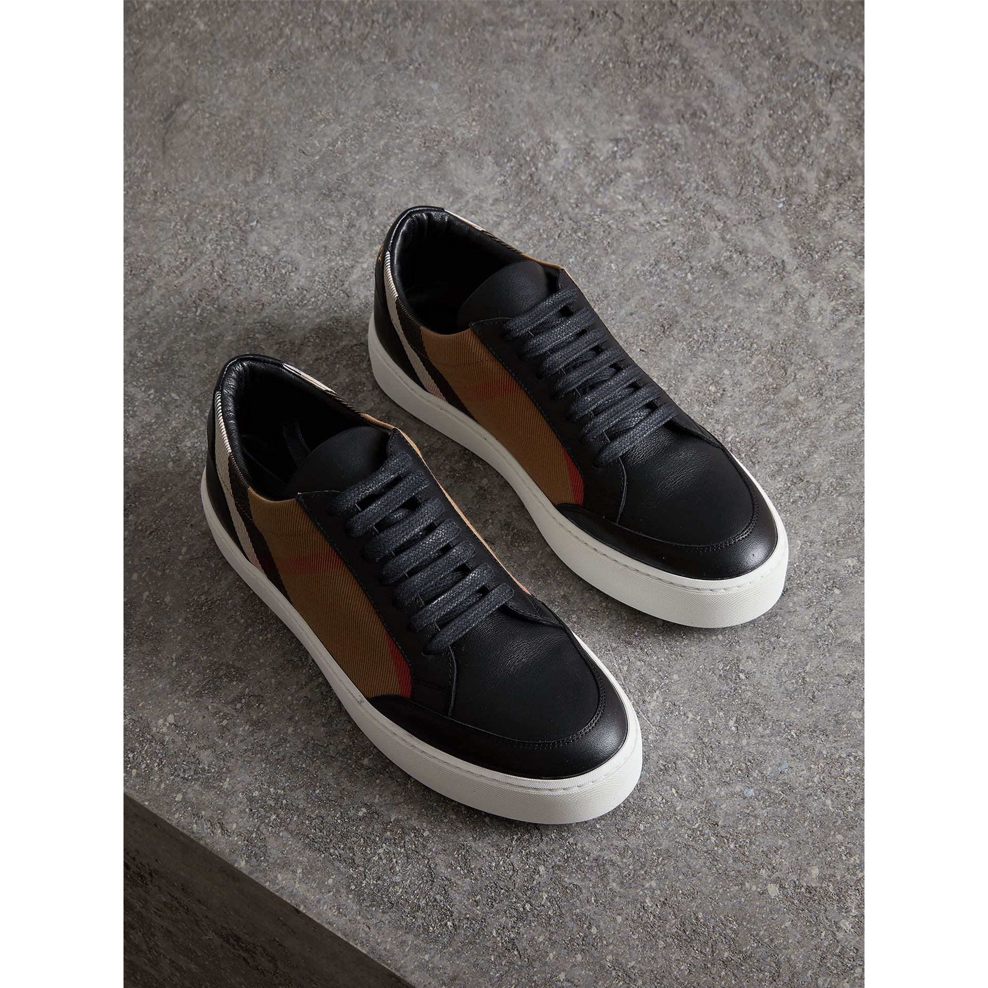Check Detail Leather Sneakers in House Check/black - Women | Burberry Singapore - gallery image 0