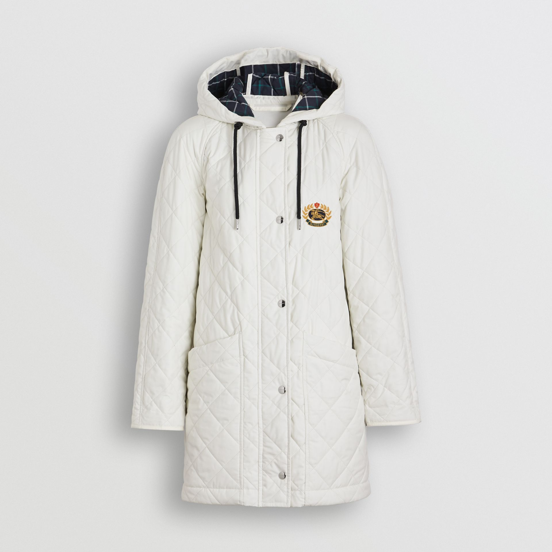 Lightweight Diamond Quilted Hooded Parka in Ash White - Women | Burberry - gallery image 2
