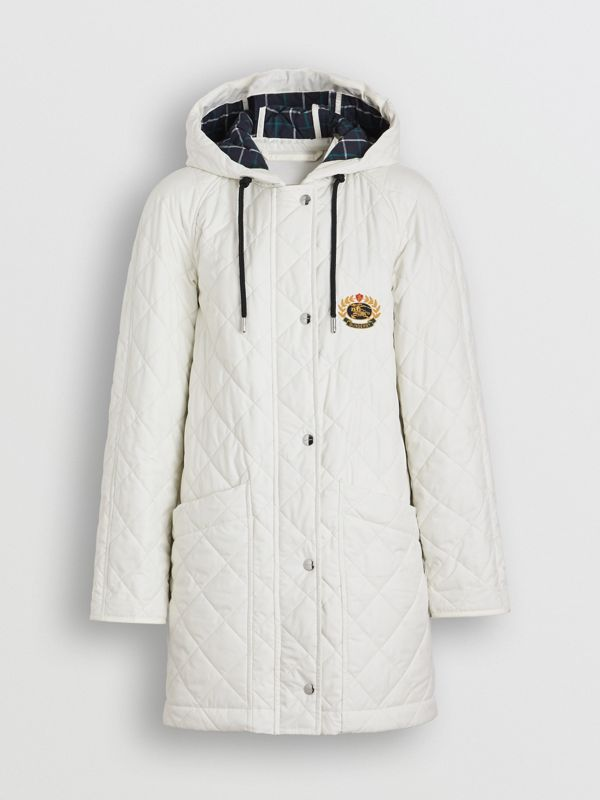 Diamond Quilted Oversized Hooded Parka in Ash White - Women | Burberry - cell image 2