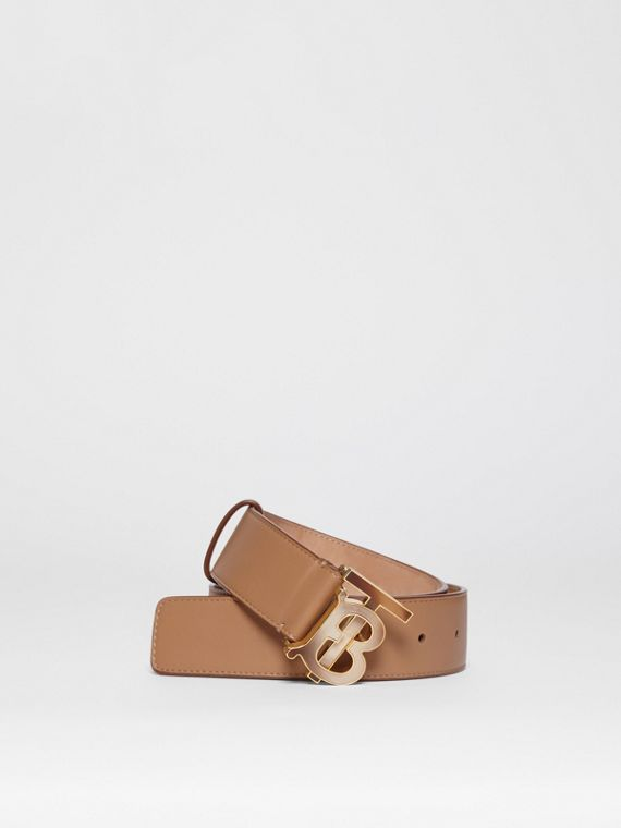 Monogram Motif Leather Belt in Light Camel