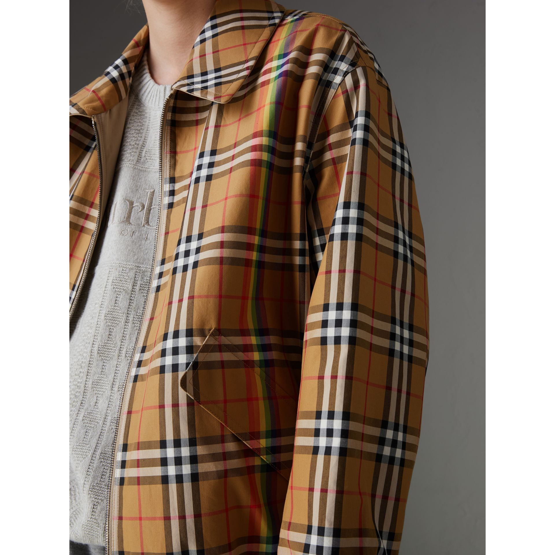 Rainbow Vintage Check Harrington Jacket in Antique Yellow/rainbow | Burberry Australia - gallery image 4