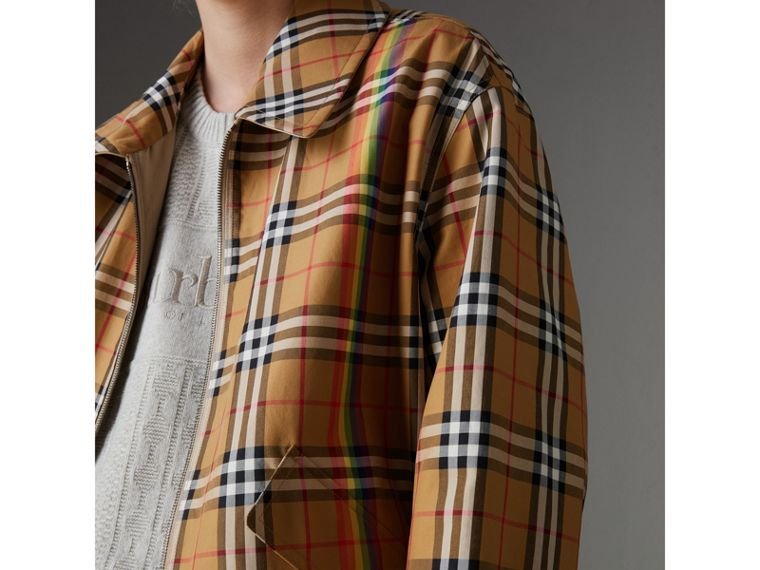 Rainbow Vintage Check Harrington Jacket in Antique Yellow/rainbow - Women | Burberry - cell image 4
