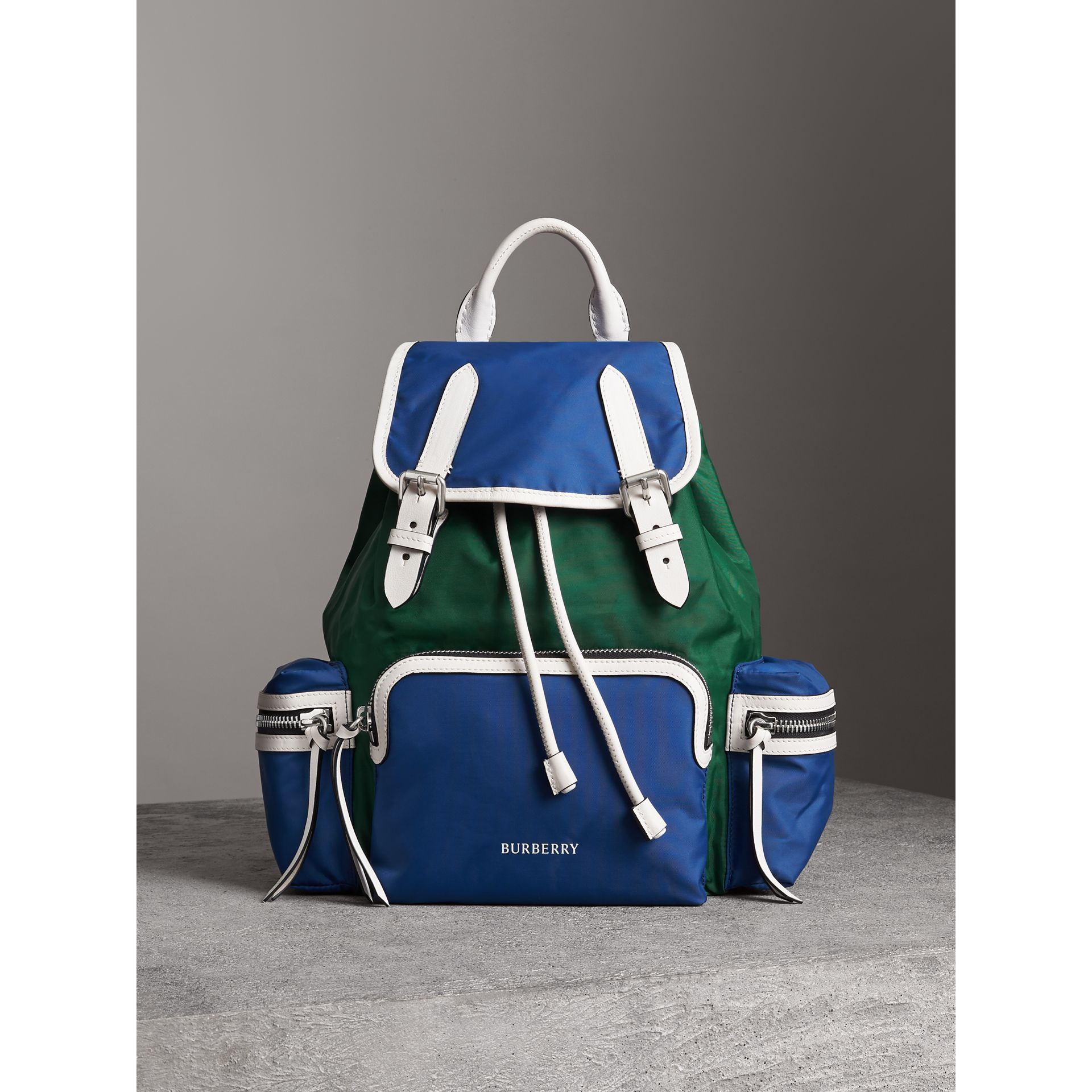 The Medium Rucksack in Colour Block Nylon and Leather in Dark Canvas Blue - Women | Burberry - gallery image 6