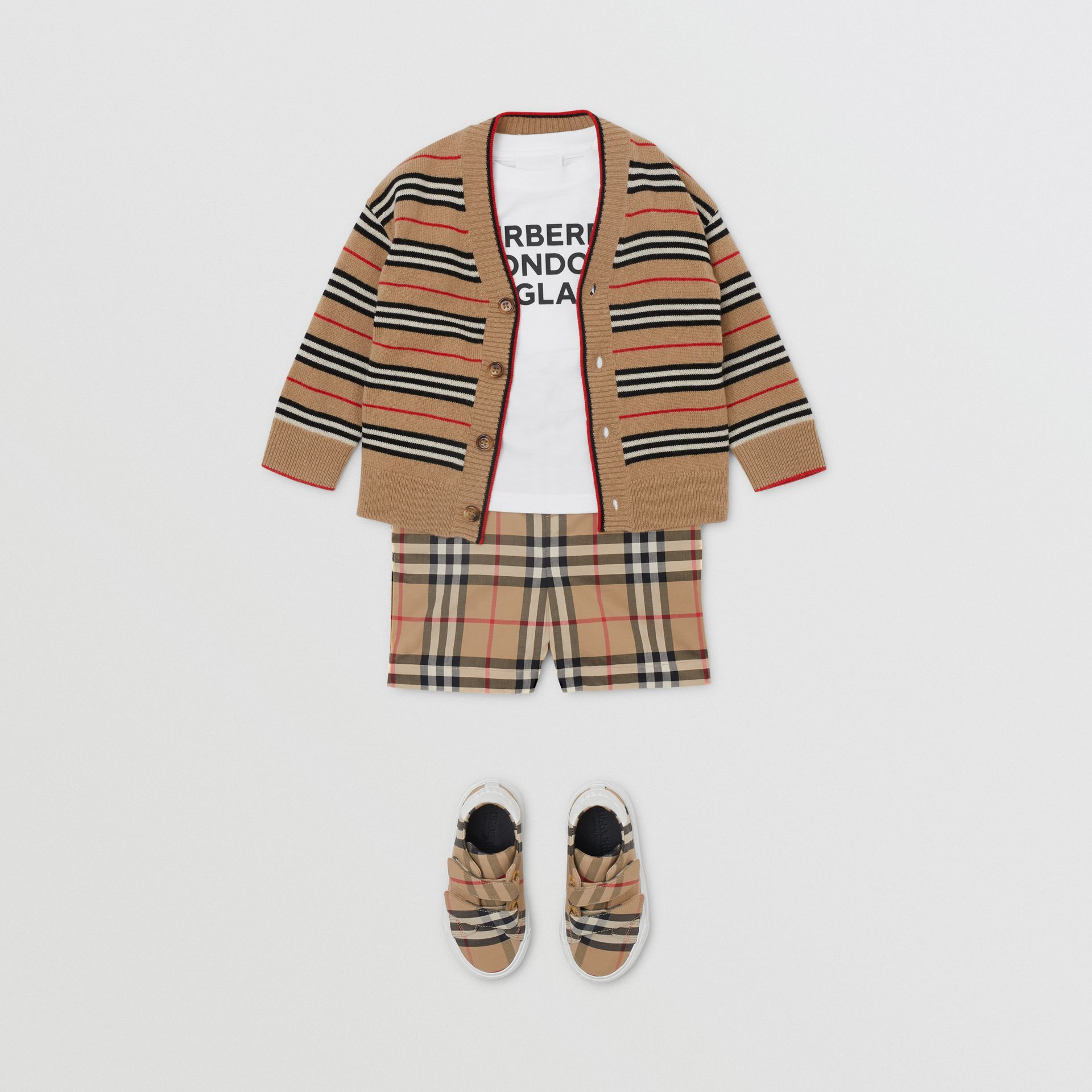 Icon Stripe Wool Cashmere Cardigan in Archive Beige - Children | Burberry United Kingdom - gallery image 3