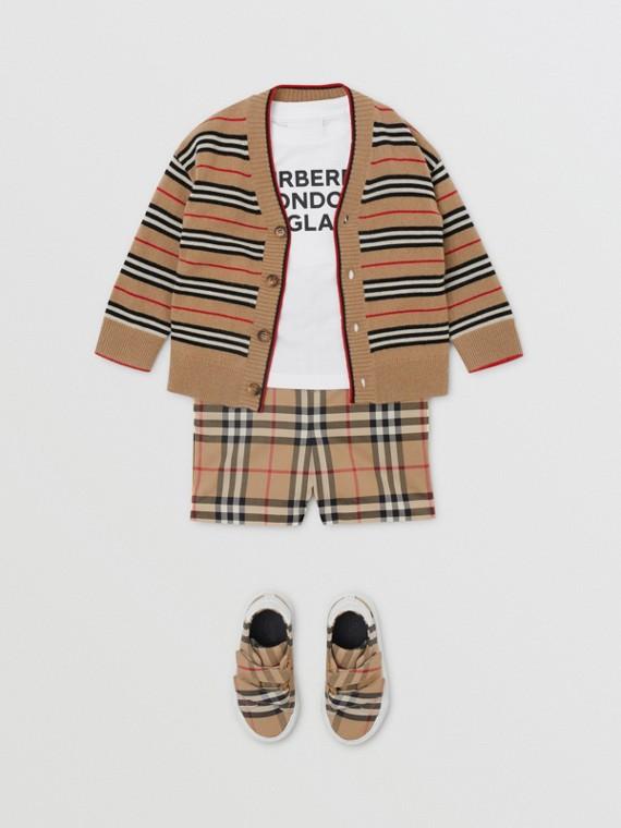 Cardigan aus Wolle und Kaschmir mit Streifenmuster (Vintage-beige)
