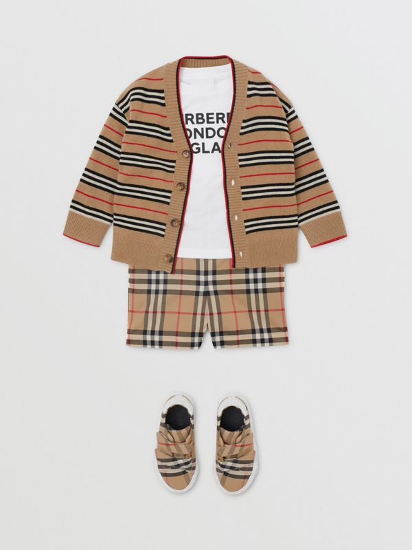 Icon Stripe Wool Cashmere Cardigan in Archive Beige - Children | Burberry United Kingdom - cell image 3