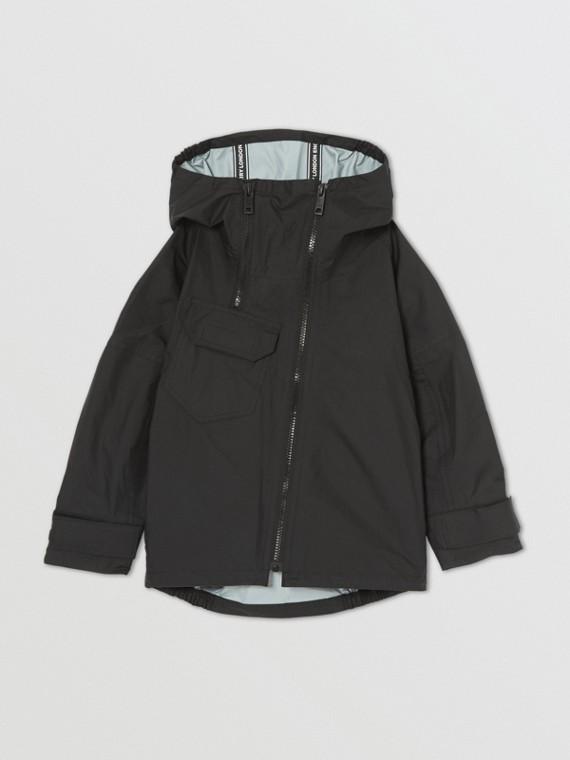 Location Print Lightweight Hooded Jacket in Black