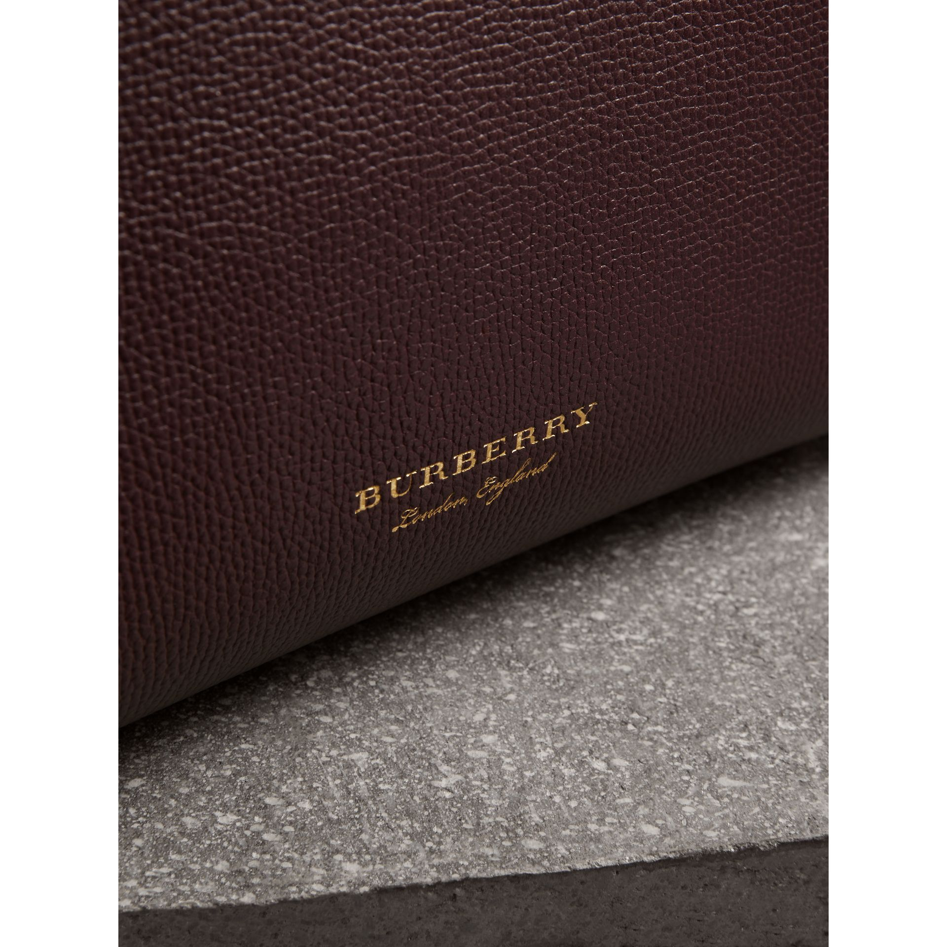 The Small Banner in Leather and House Check in Mahogany Red - Women | Burberry United Kingdom - gallery image 1