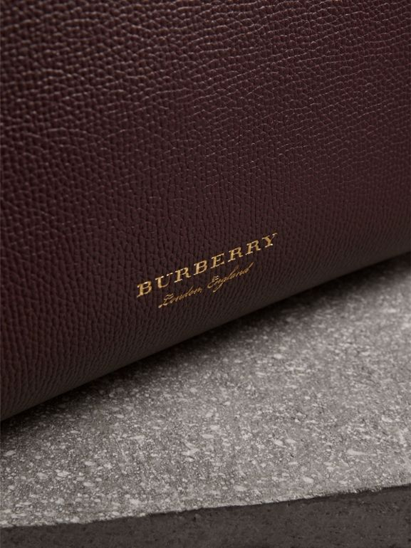 The Small Banner in Leather and House Check in Mahogany Red - Women | Burberry United Kingdom - cell image 1