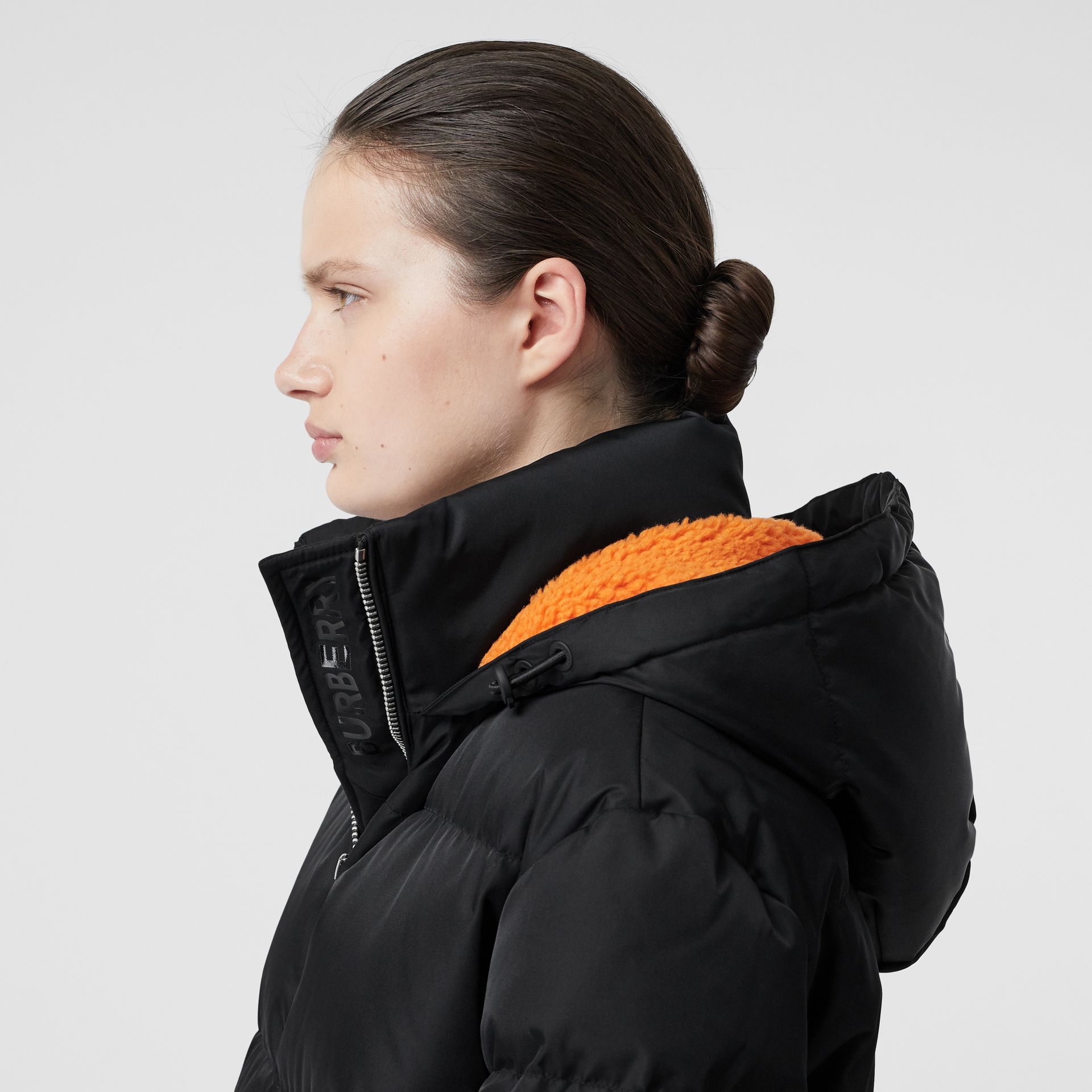 Logo Detail ECONYL® Puffer Coat in Black/orange - Women | Burberry Australia - gallery image 1