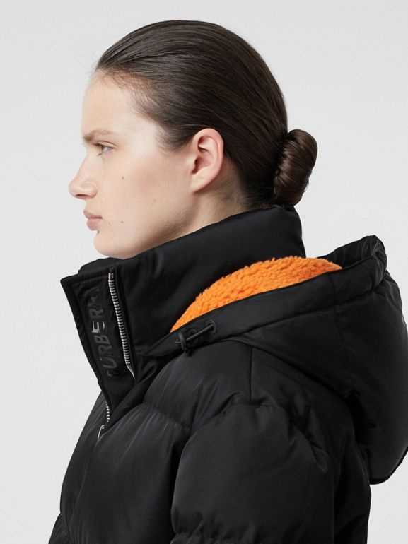 Logo Detail ECONYL® Puffer Coat in Black/orange - Women | Burberry - cell image 1