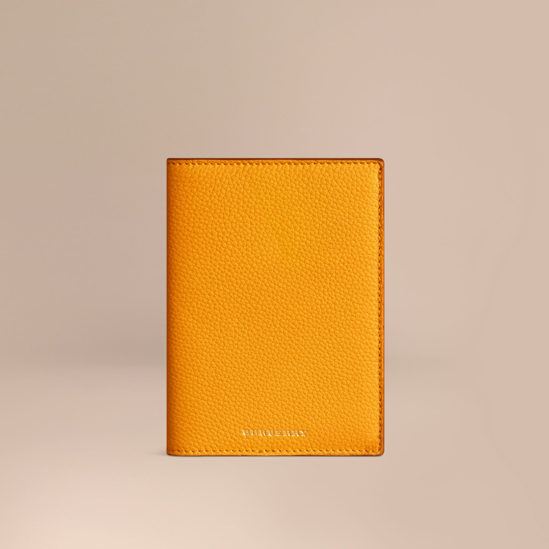 Grainy Leather Passport Cover in Ochre Yellow | Burberry - gallery image 1