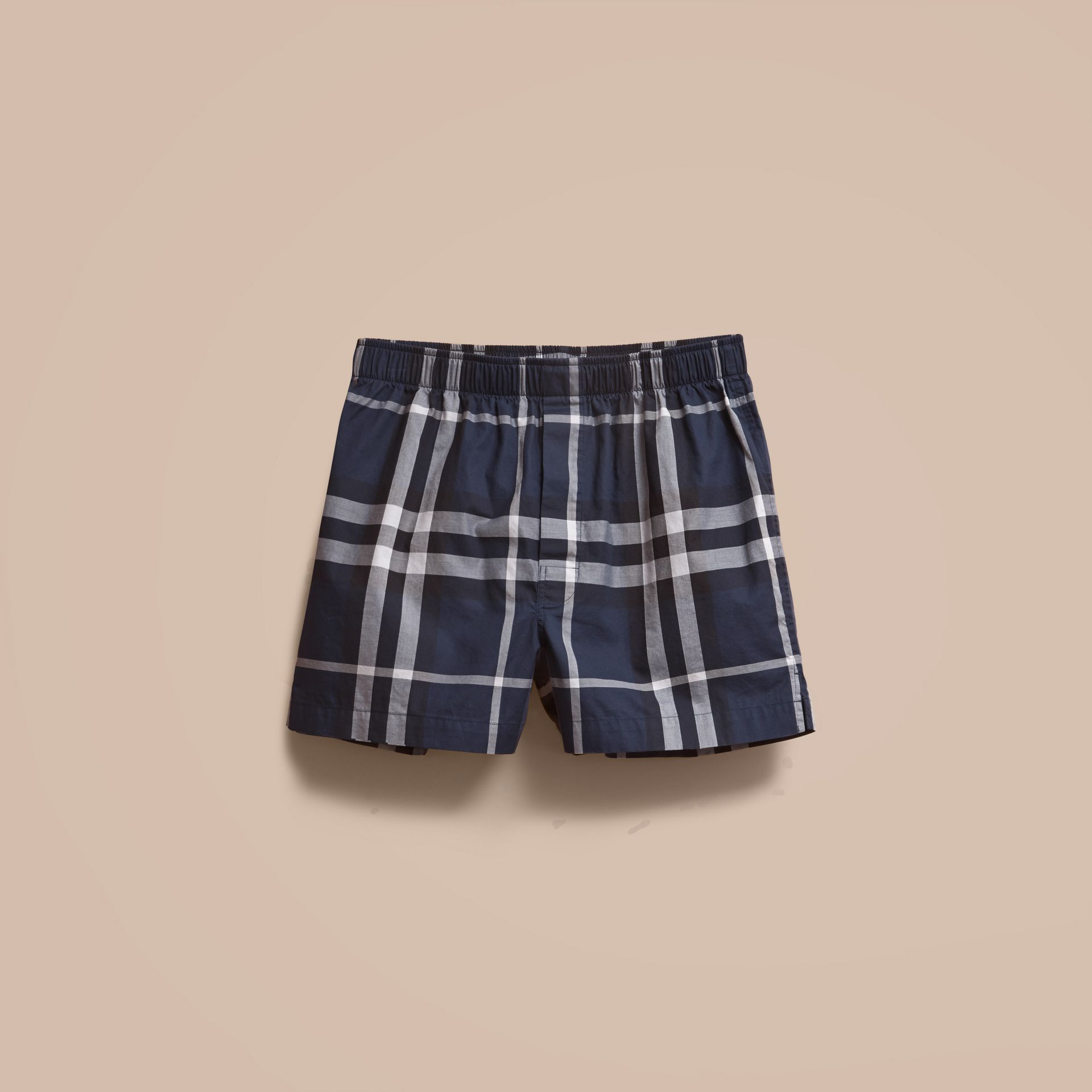Check Twill Cotton Boxer Shorts in Navy - gallery image 4