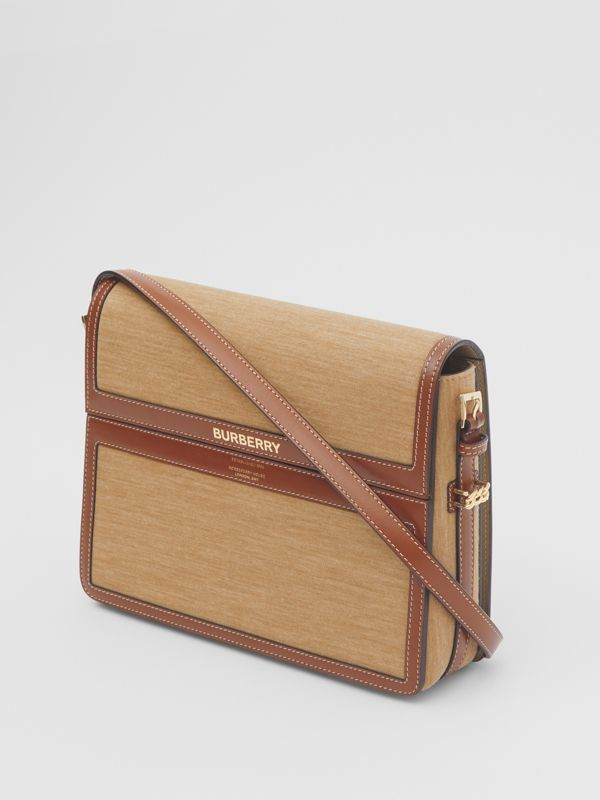 Large Jersey and Leather Grace Bag in Pecan Melange - Women | Burberry Canada - cell image 3