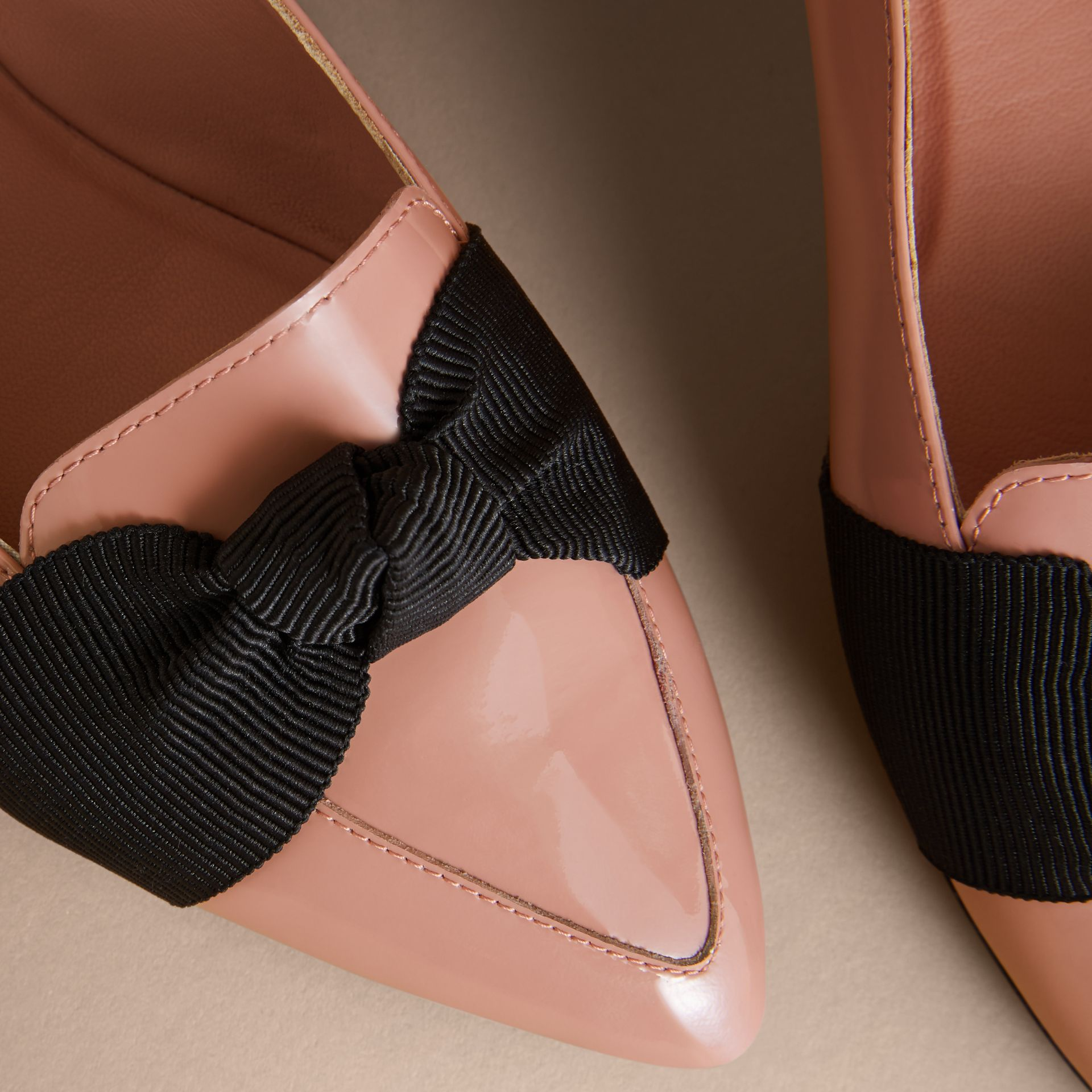 Grosgrain Bow Patent Leather Loafers in Nude Pink - Women | Burberry - gallery image 2
