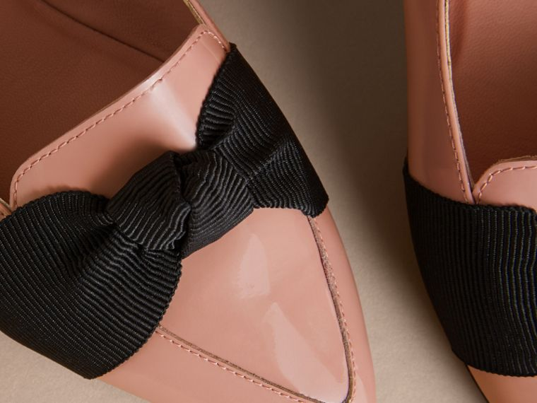 Grosgrain Bow Patent Leather Loafers in Nude Pink - Women | Burberry - cell image 1