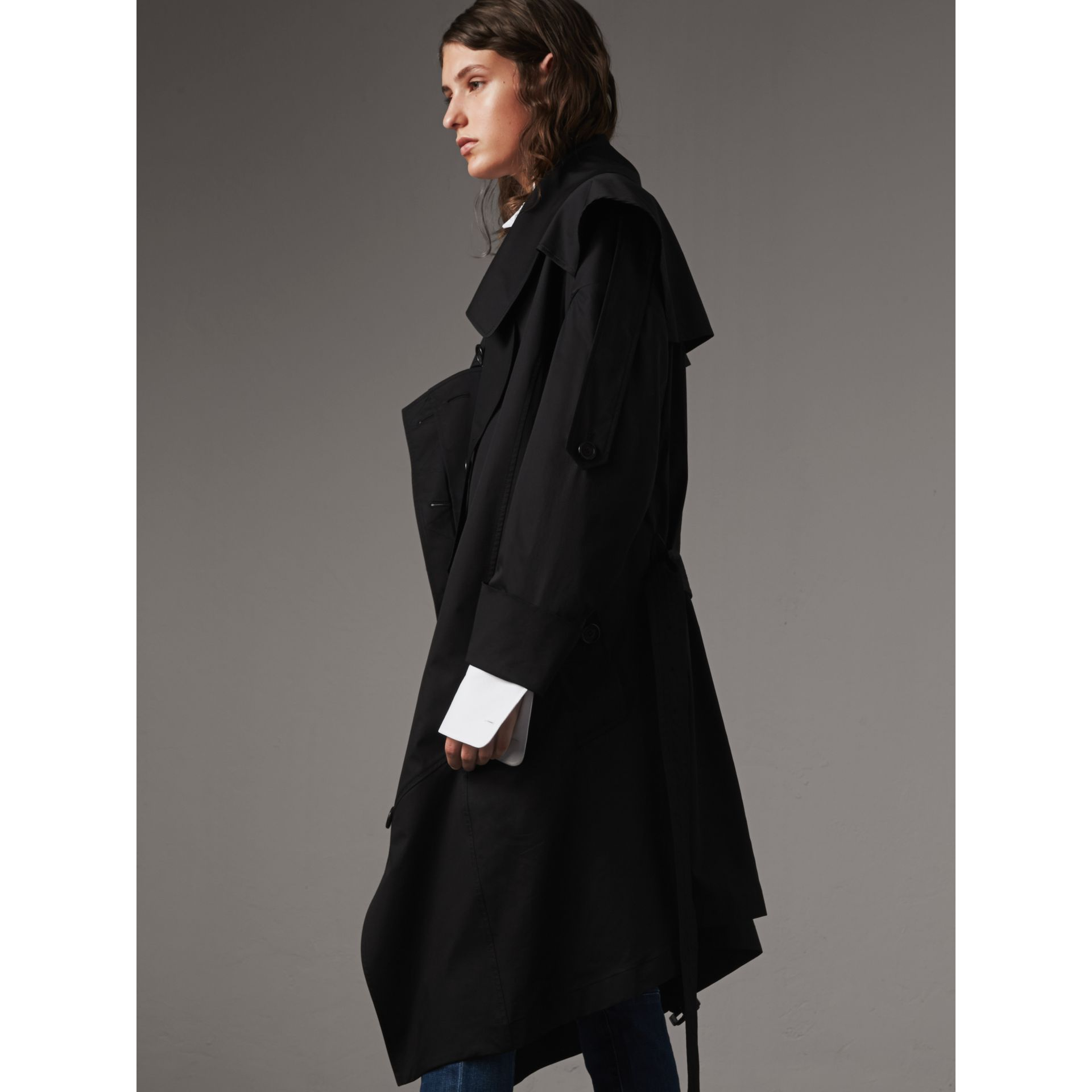 Cotton Asymmetric Trench Coat in Black - Women | Burberry - gallery image 6
