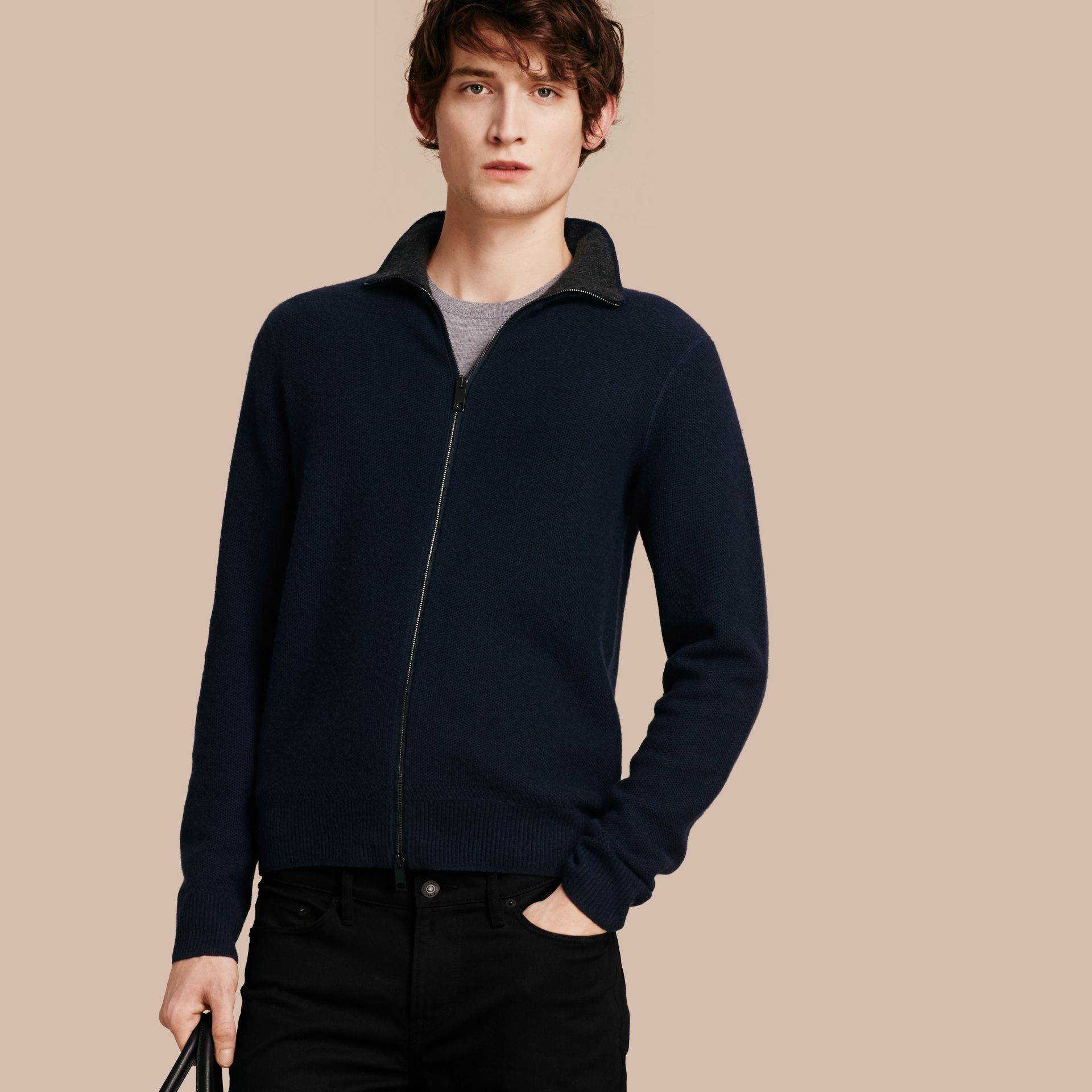 Zip Front Wool Cashmere Cardigan Navy - gallery image 1