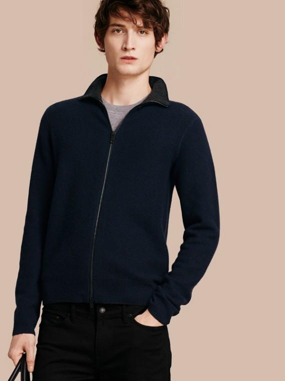 Zip Front Wool Cashmere Cardigan Navy