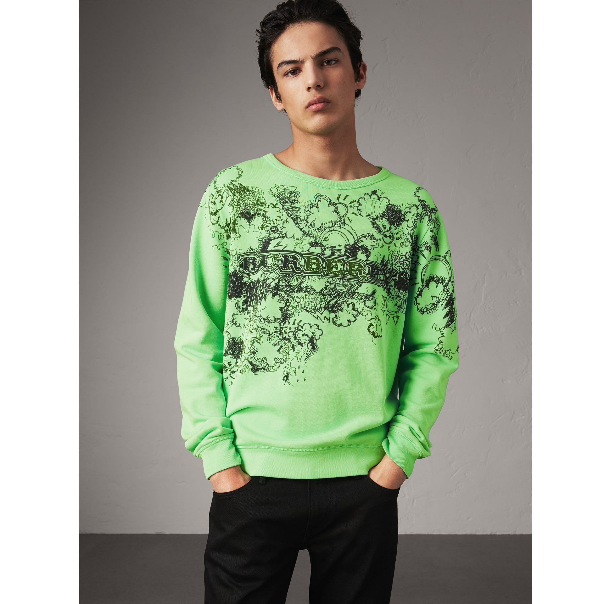 Doodle Print Cotton Sweatshirt in Bright Apple Green - Men | Burberry - gallery image 0