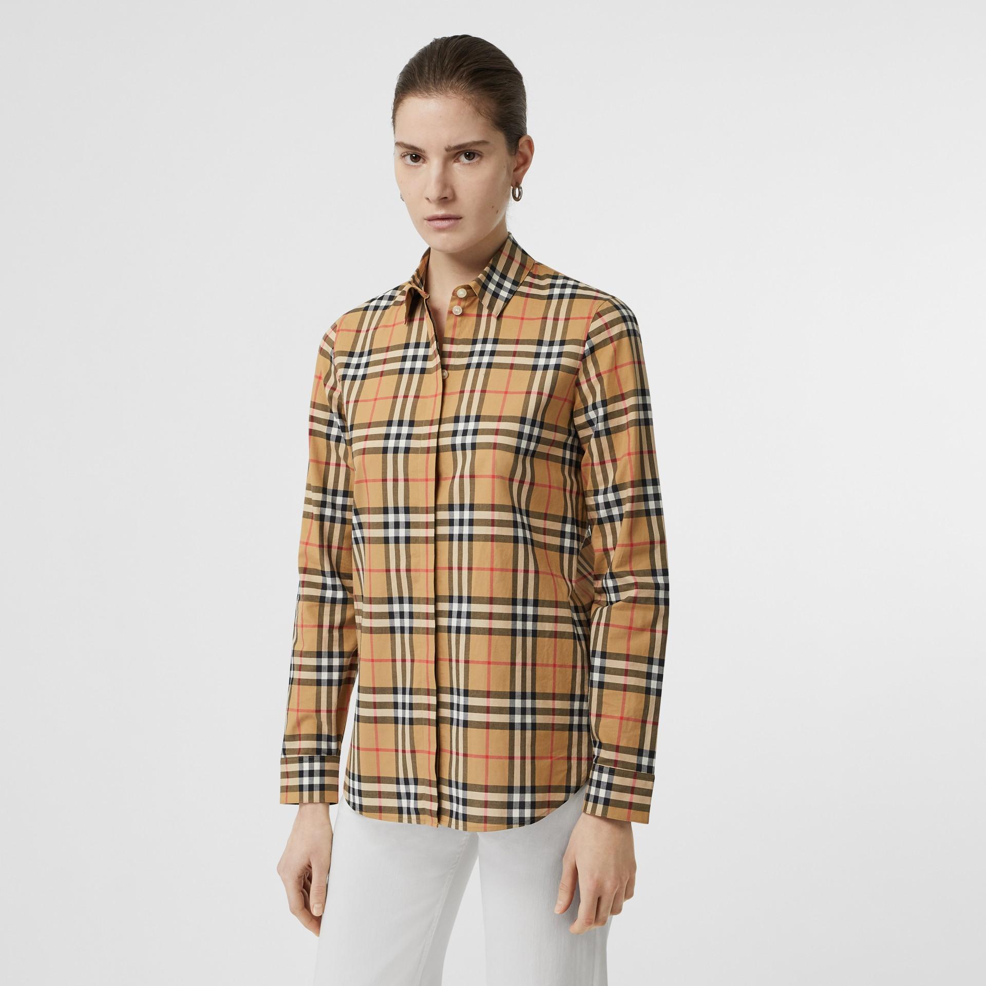 Chemise en coton à motif Vintage check (Jaune Antique) - Femme | Burberry - photo de la galerie 0