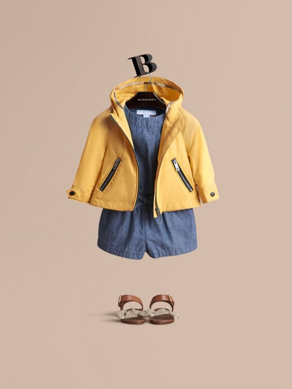 Showerproof Hooded Jacket in Gorse Yellow | Burberry Canada
