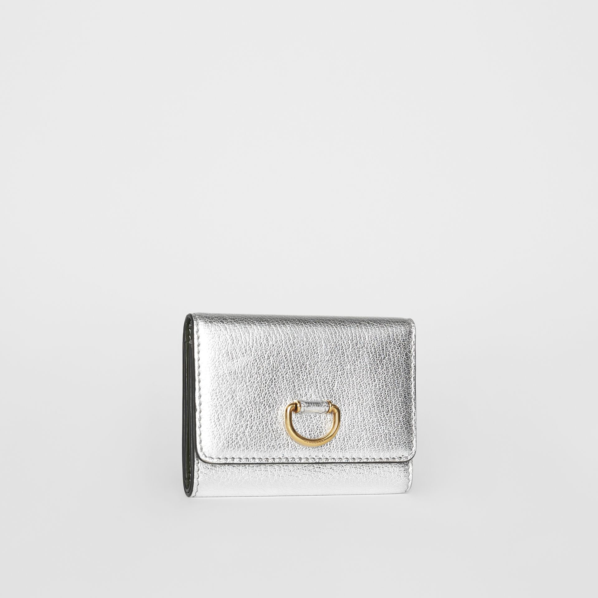 Small D-ring Metallic Leather Wallet in Silver - Women | Burberry United Kingdom - gallery image 3