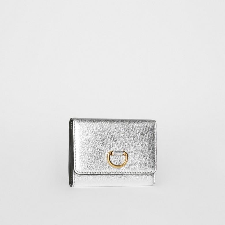 Burberry - Petit portefeuille en cuir métallisé avec boucle en D - 4