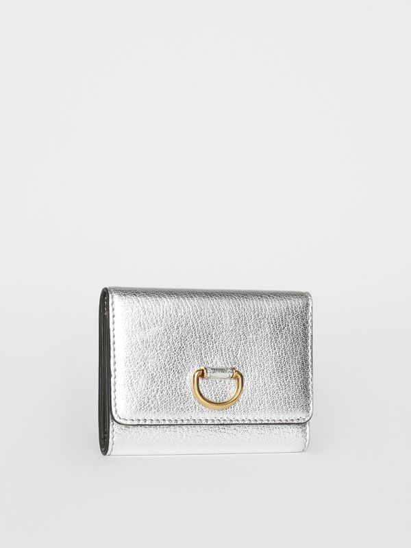 Small D-ring Metallic Leather Wallet in Silver - Women | Burberry United Kingdom - cell image 3