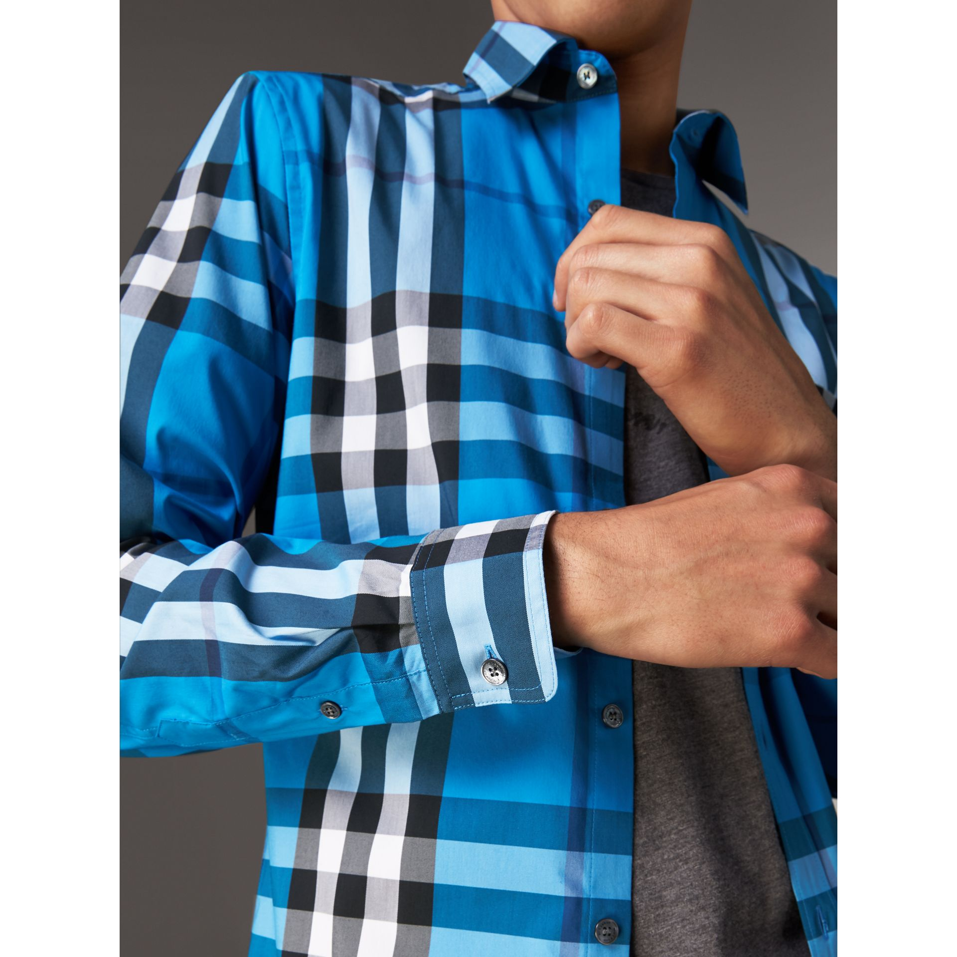 Check Stretch Cotton Shirt in Bright Blue - Men | Burberry Singapore - gallery image 1