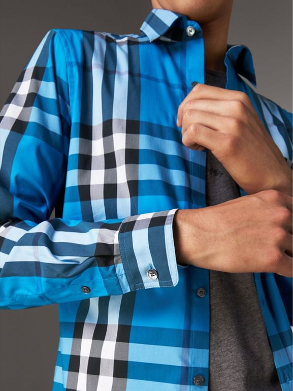 Check Stretch Cotton Shirt in Bright Blue - Men | Burberry Australia - cell image 1