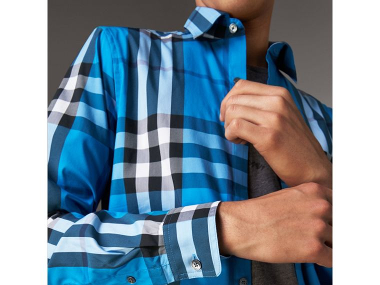 Check Stretch Cotton Shirt in Bright Blue - Men | Burberry - cell image 1