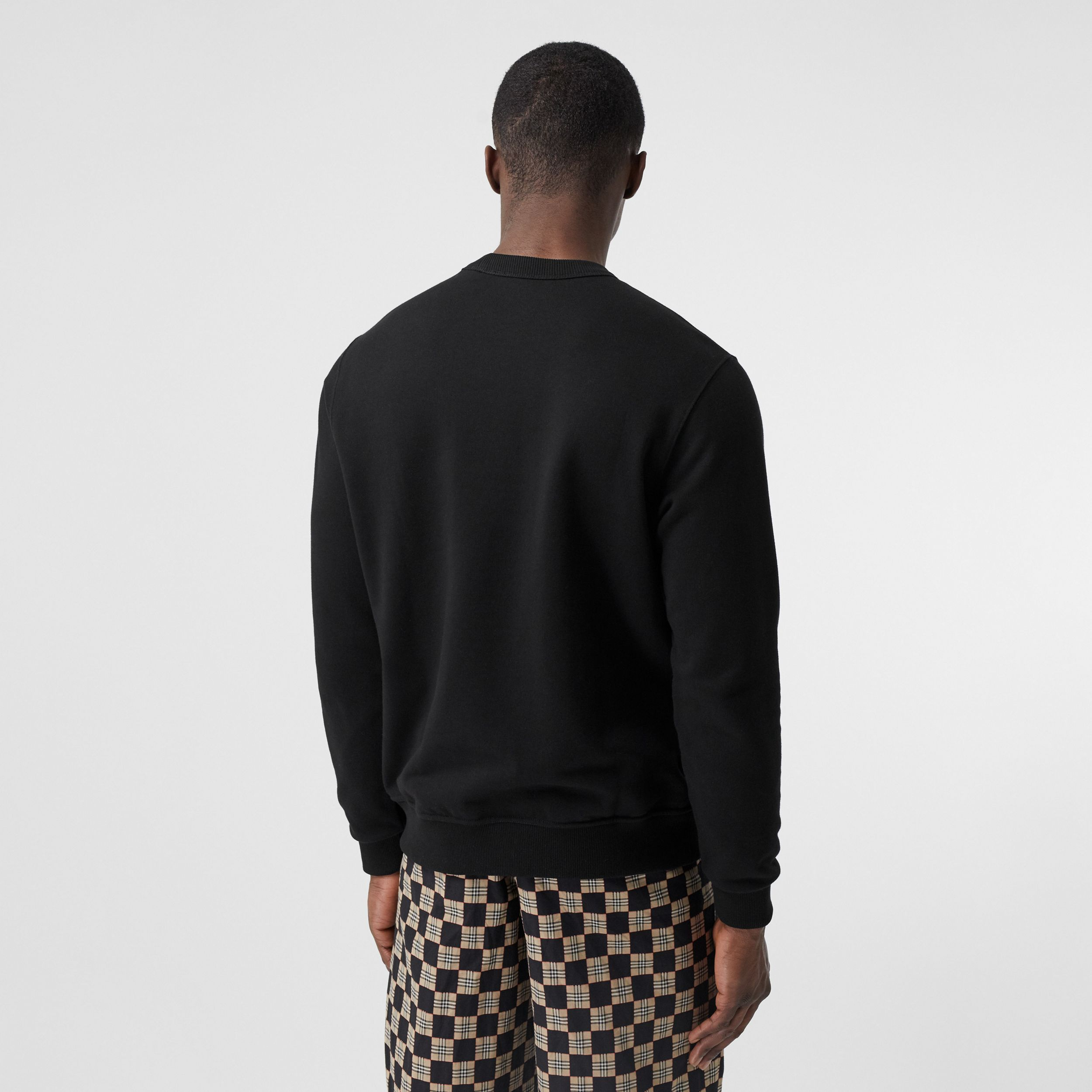 Monogram Motif Cotton Sweatshirt in Black - Men | Burberry United States - 3