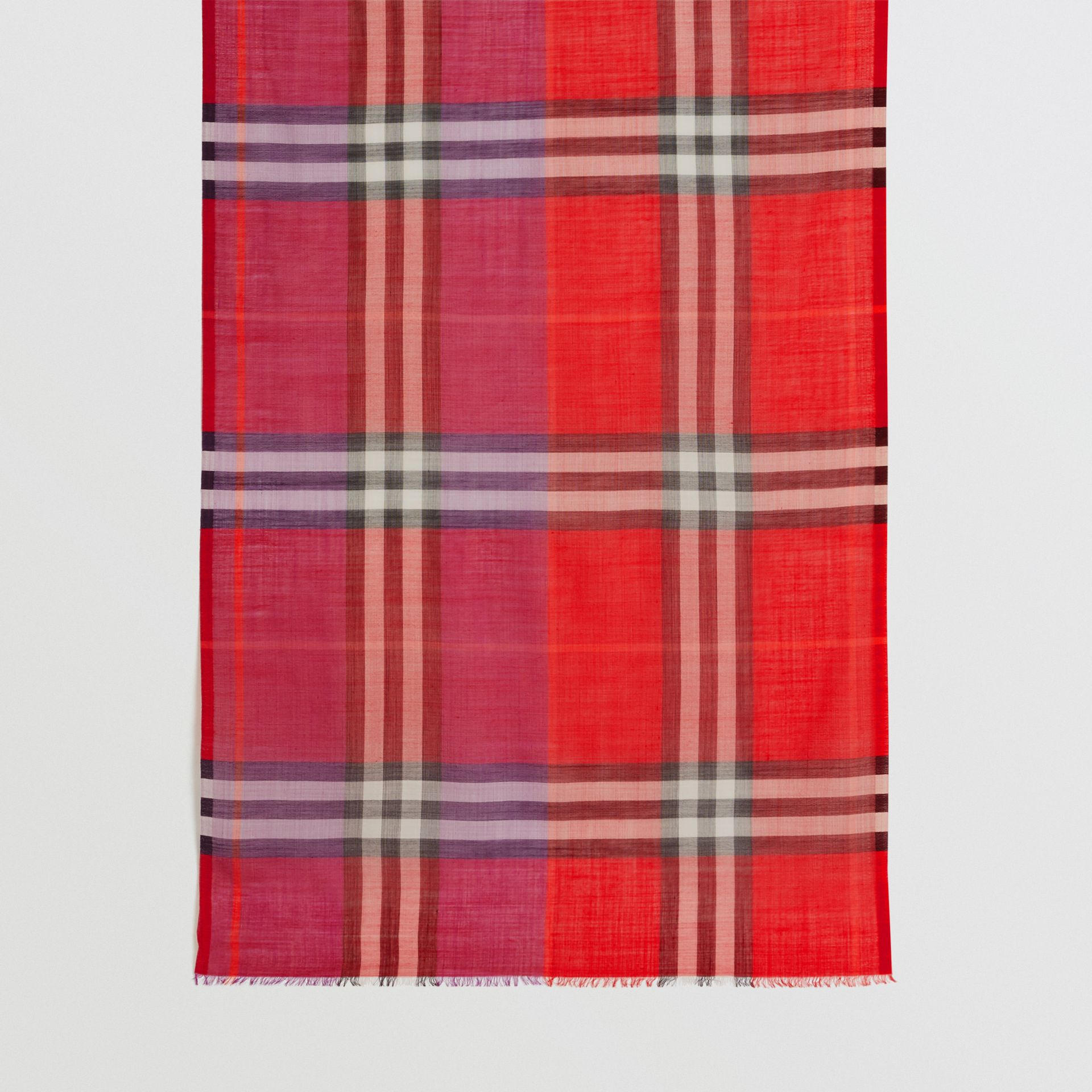 Colour Block Check Wool Silk Scarf in Bright Plum | Burberry Canada - gallery image 4