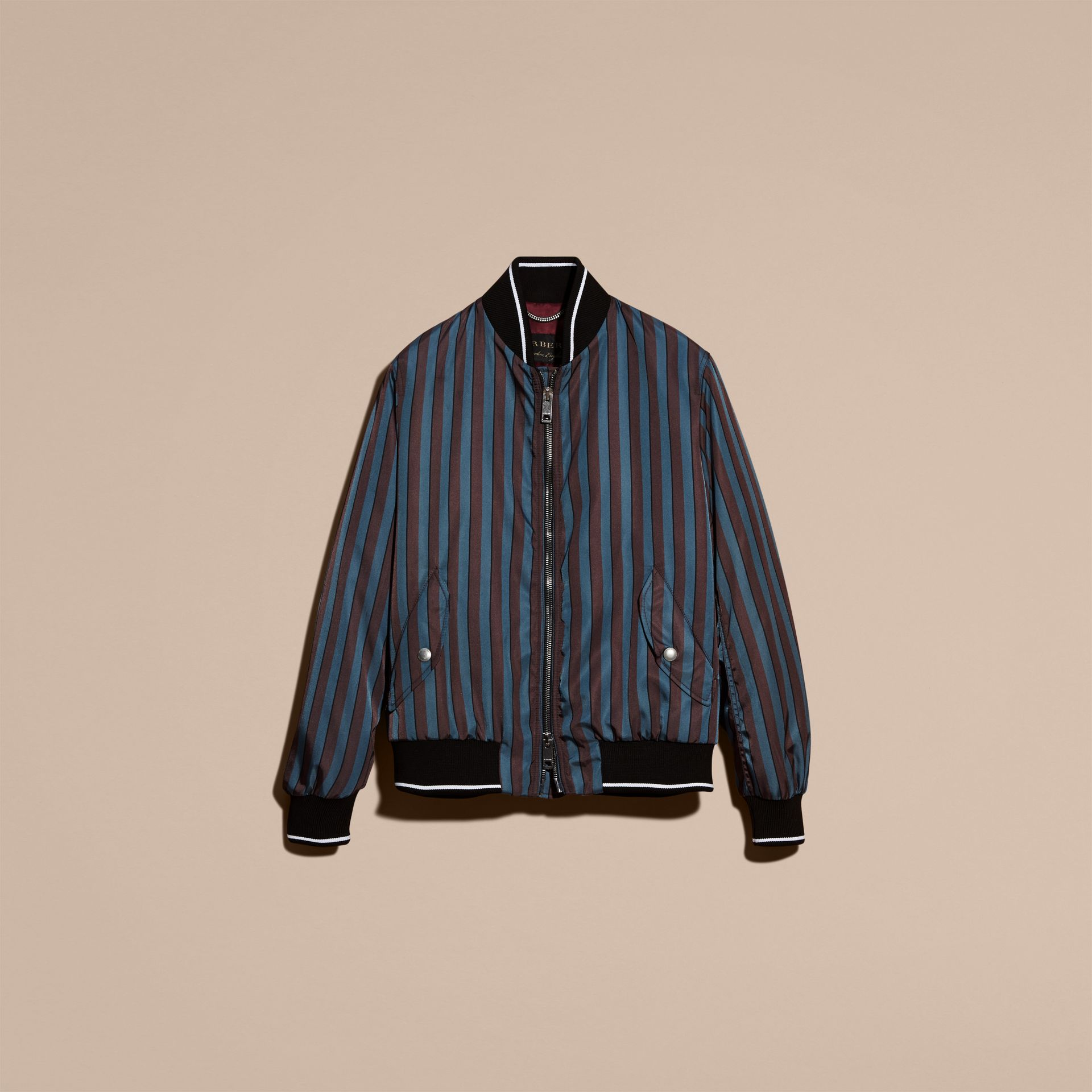 Navy Stripe Print Technical Bomber Jacket - gallery image 4