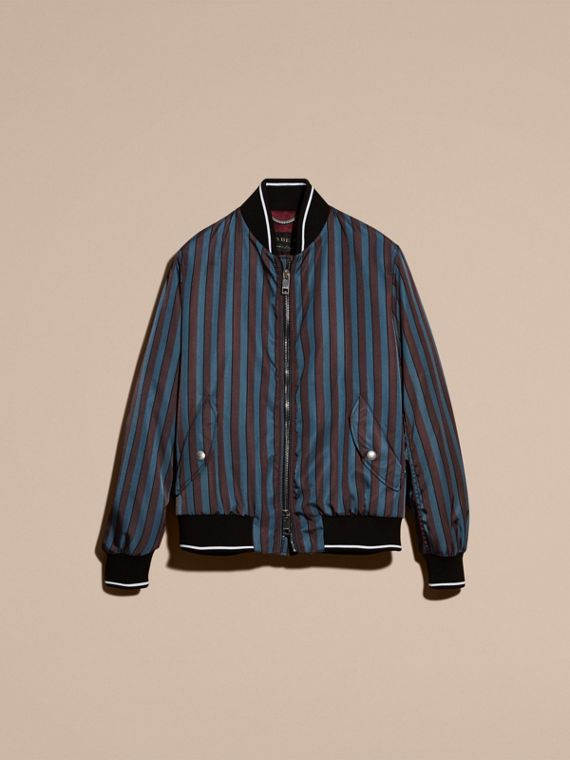 Navy Stripe Print Technical Bomber Jacket - cell image 3