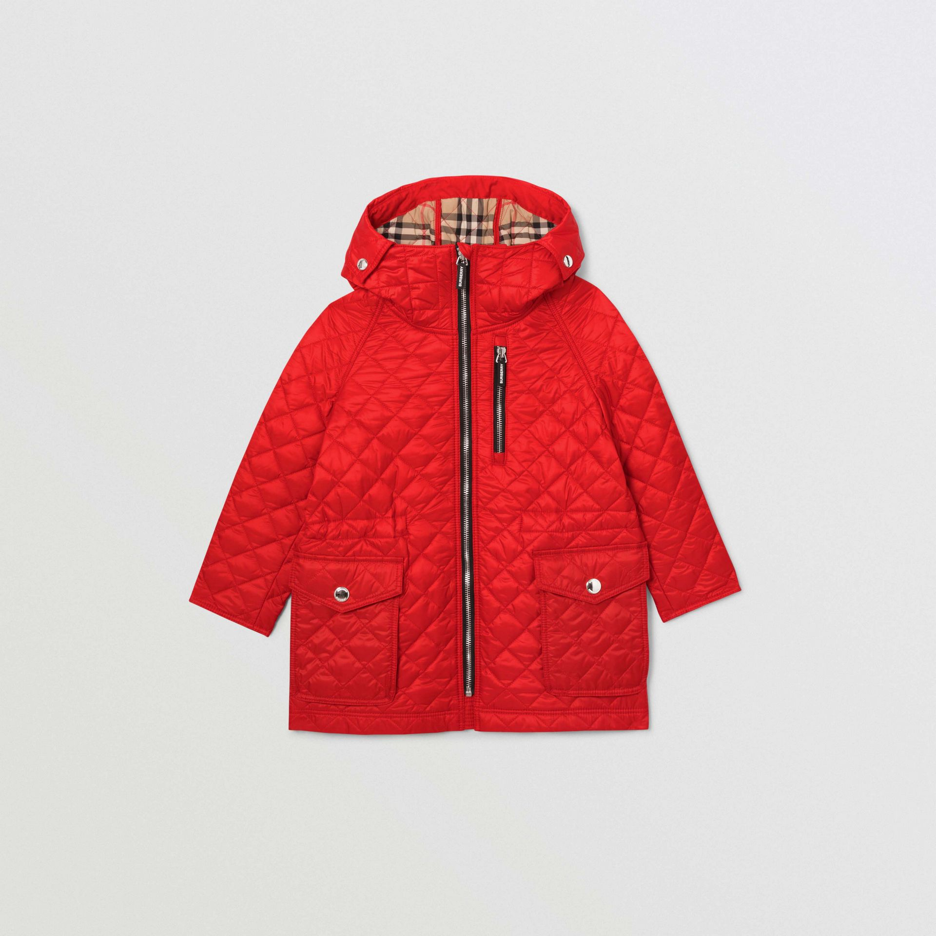Diamond Quilted Hooded Coat in Bright Red | Burberry United Kingdom - gallery image 0