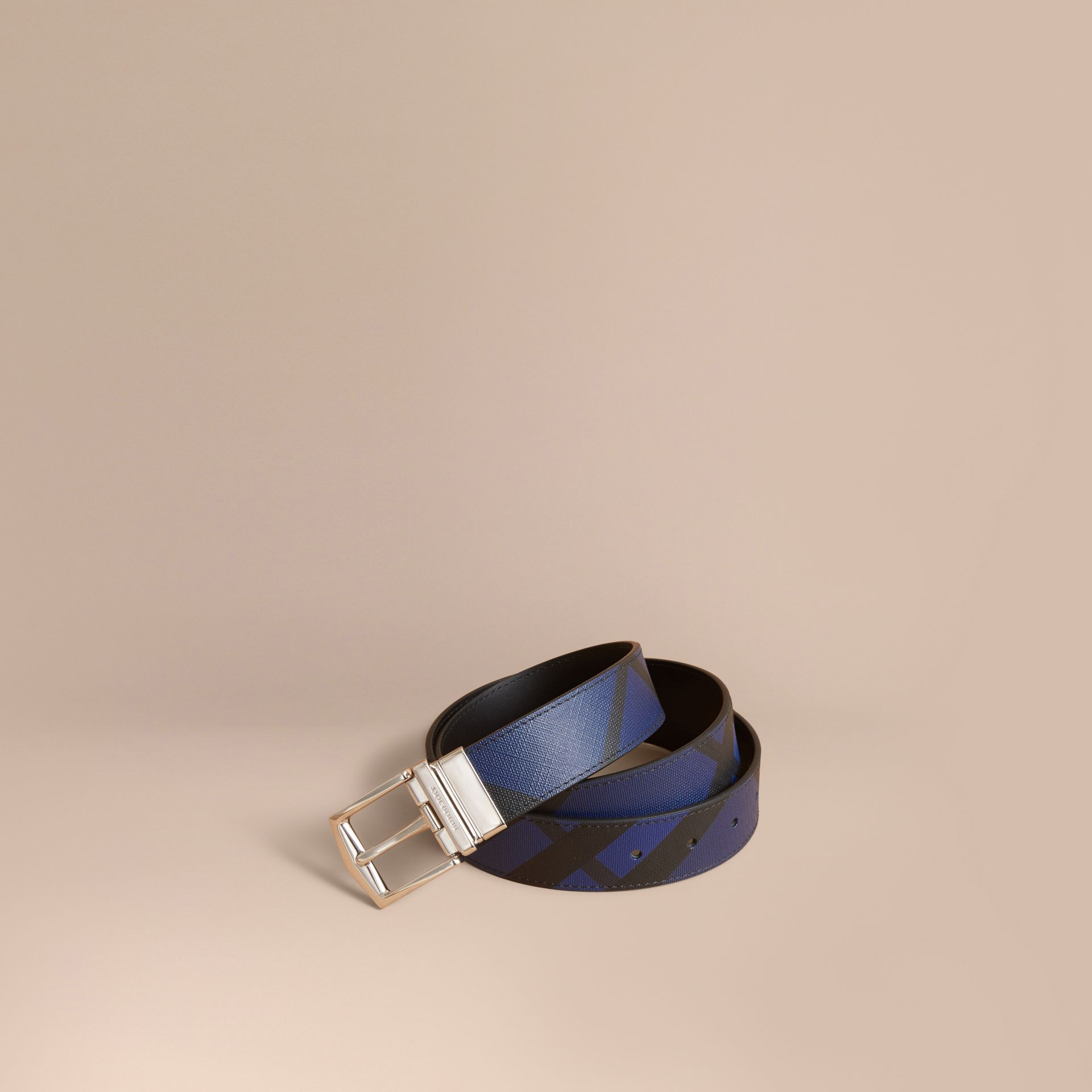 Reversible London Check and Leather Belt Bright Lapis/black - gallery image 1