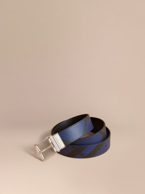 London Check and Leather Reversible Belt Bright Lapis/black