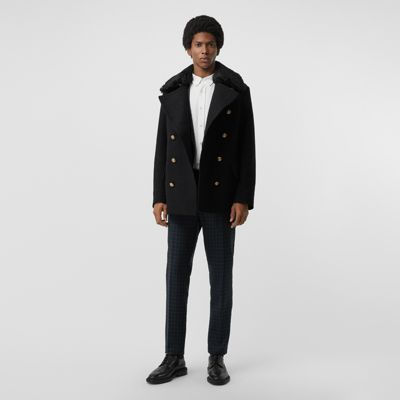Detachable Shearling Collar Wool Pea Coat by Burberry