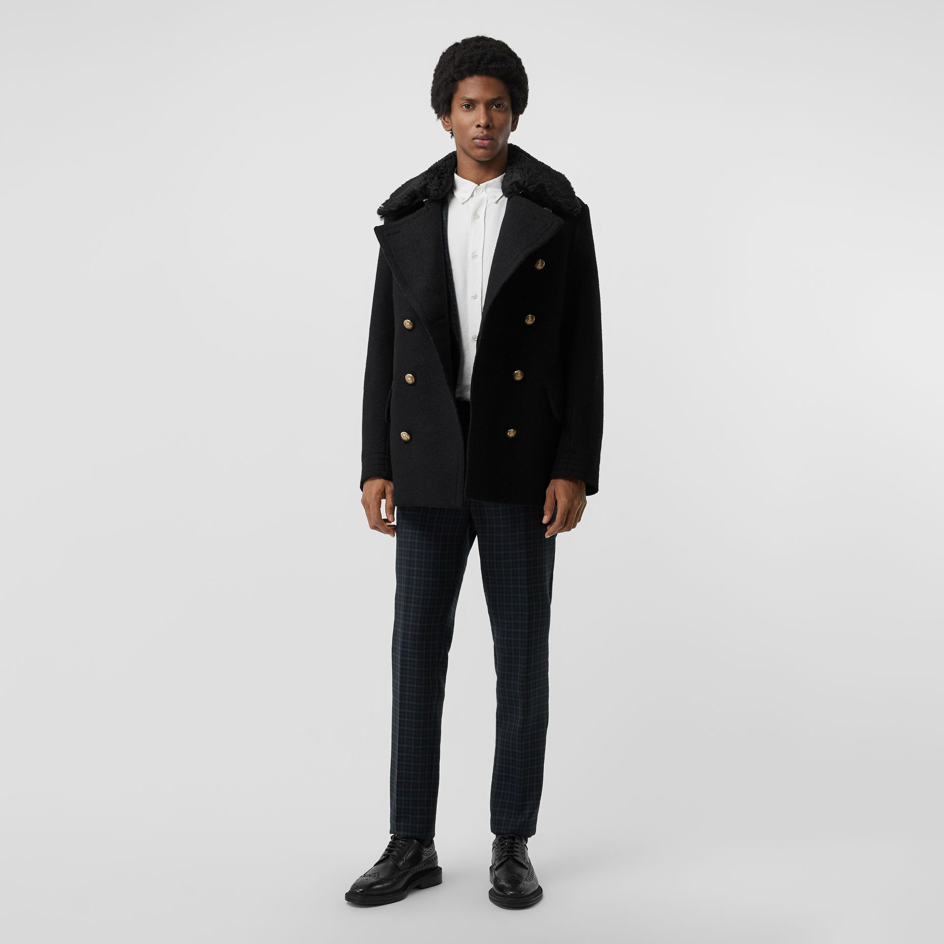 Detachable Shearling Collar Wool Pea Coat in Black - Men | Burberry United Kingdom - gallery image 0