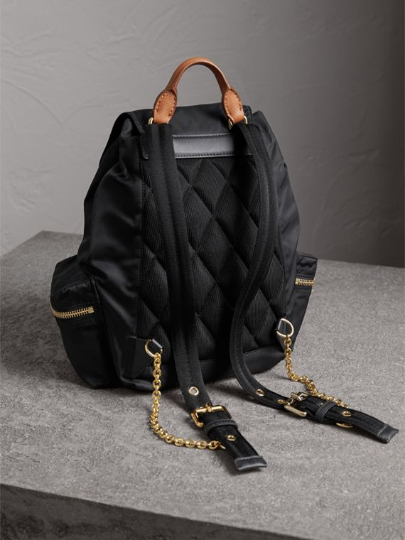 The Medium Rucksack in Technical Nylon and Leather in Black - Women | Burberry - cell image 3